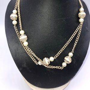 J. CREW Pearl Beaded Goldtone Necklace
